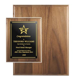 "12"" x 15"" Genuine Walnut Plaque 
