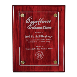 "8"" x 10"" Rosewood Floating Award Plaque 